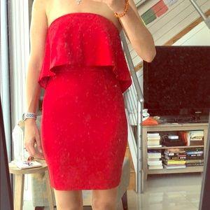 NWT: Jay Godfrey sz 2 red strapless mini dress
